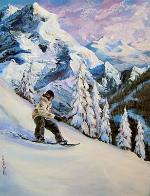 Snowboarding Painting - Early Morning Fresh Snow by Mona Davis