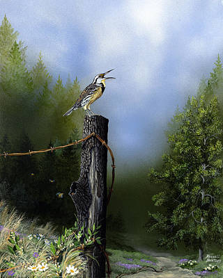 Meadowlark Painting - Early Morning Song by Russell Bentley