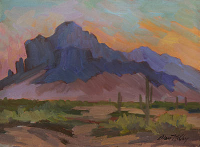 Sonoran Desert Painting - Early Mornng At Superstition Mountain by Diane McClary