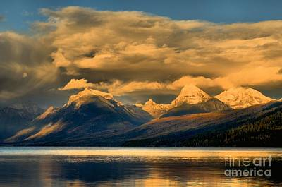 Lake Mcdonald Photograph - Early Season Snow Caps by Adam Jewell