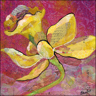 Daffodils Painting - Early Spring Iv Daffodil Series by Shadia Zayed
