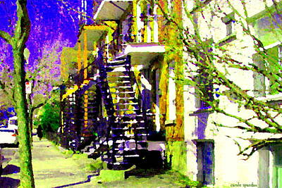 Early Spring Stroll City Streets With Spiral Staircases Art Of Montreal Street Scenes Carole Spandau Print by Carole Spandau