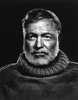 Famous Book Photograph - Earnest Hemingway Close Up by Retro Images Archive