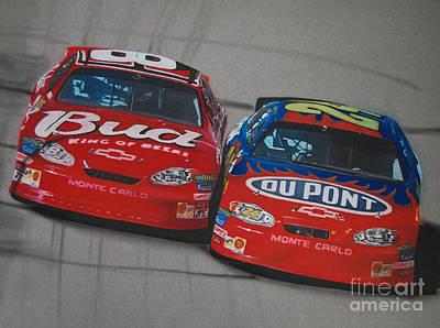 Nascar Drawing - Earnhardt Junior And Jeff Gordon Trade Paint by Paul Kuras