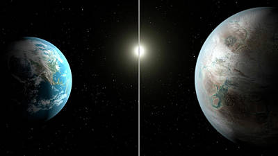 Extrasolar Planet Photograph - Earth And Kepler-452b by Nasa/ames/jpl-caltech