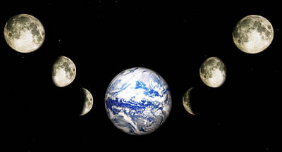 Metaphysical Digital Art - Earth And Phases Of The Moon by Bob Orsillo