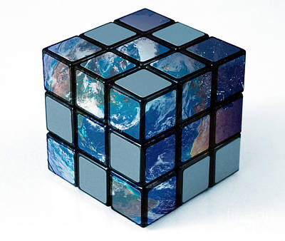 Earth As Rubiks Cube Print by Spencer Sutton