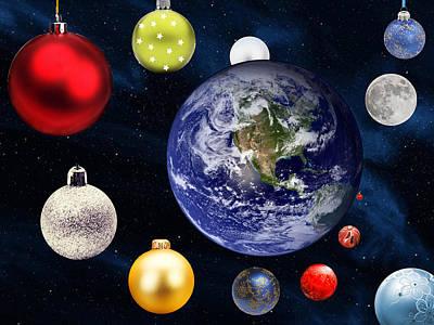 Solar Eclipse Digital Art - Earth Christmas 2 by Bruce Iorio