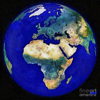 Map Painting - Earth From Space Europe And Africa by Dragica  Micki Fortuna