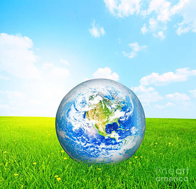 Atmosphere Photograph - Earth Globe On Green Grass by Michal Bednarek