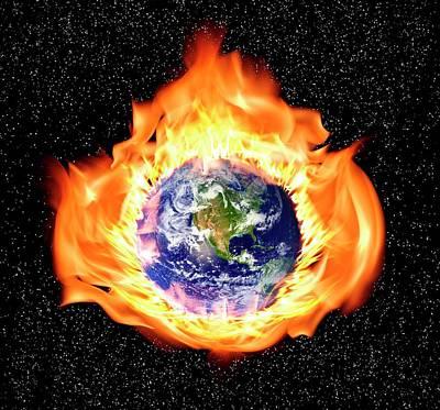Earth In Flames Print by Victor De Schwanberg