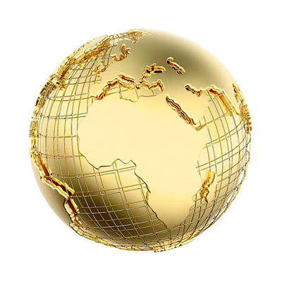 Global Photograph - Earth In Gold Metal Isolated - Africa by Johan Swanepoel