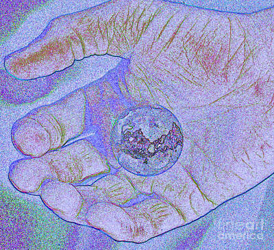 Earth In Hand Print by First Star Art