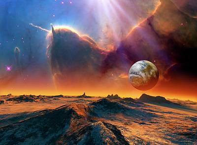 Earth-like Alien Planet And Nebula Print by Nasa/esa And Jeff Hester (arizona State University)//detlev Van Ravenswaay