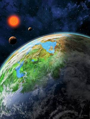 Exoplanet Photograph - Earth-like Alien Planet by Nicolle R. Fuller