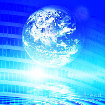 Web Photograph - Earth Technology Background by Michal Bednarek