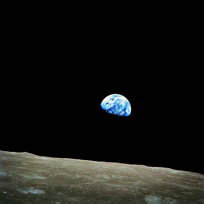 Galaxies Photograph - Earth View From Moon by Celestial Images