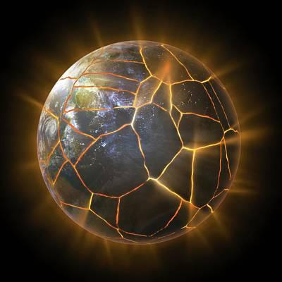 Earth With Cracks Print by Andrzej Wojcicki