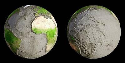 Earth With No Oceans Print by Andrzej Wojcicki