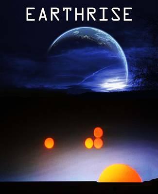 Solar Eclipse Digital Art - Earthrise Book Cover by Bruce Iorio