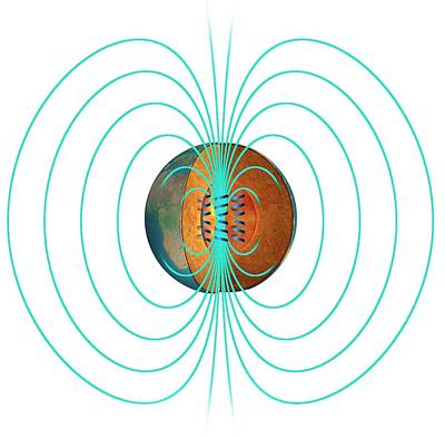 Earth's Magnetic Field Print by Claus Lunau