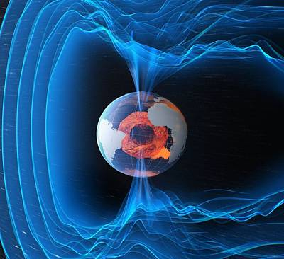 Interplanetary Space Photograph - Earths Magnetic Field by Science Source