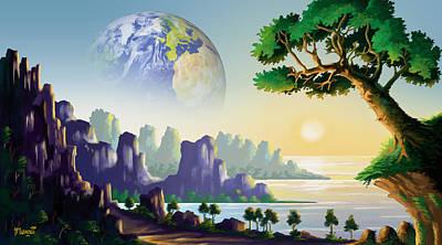Strange Days Painting - Earth's Sister by Anthony Mwangi