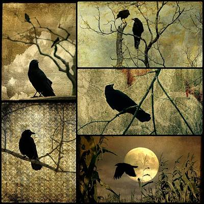 Starlings Digital Art - Earthy Crows by Gothicrow Images