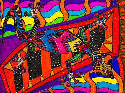 Salamanders Painting - Easily Confused - Salamander -  Gecko Colors by Marie Jamieson