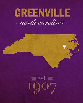East Carolina University Pirates Greenville Nc College Town State Map Poster Series No 036 Print by Design Turnpike