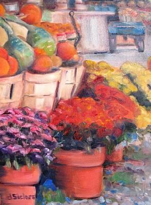 Mums Painting - East Hampton Fall Farm by Dorothy Siclare