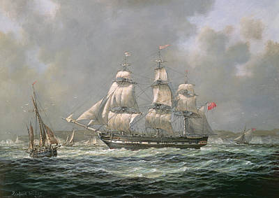 Flags Painting - East Indiaman Hcs Thomas Coutts Off The Needles     Isle Of Wight by Richard Willis