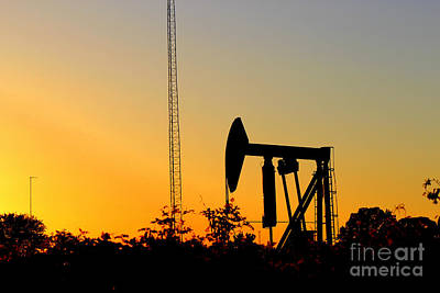East Texas Pumpjack At Sunset Print by Kathy  White