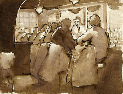 Ink Drawing Painting - East Village Bar 1984 by Thor Wickstrom