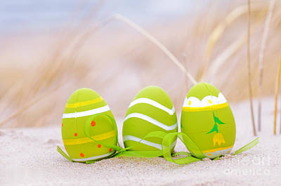 Easter Photograph - Easter Decorated Eggs On Sand by Michal Bednarek