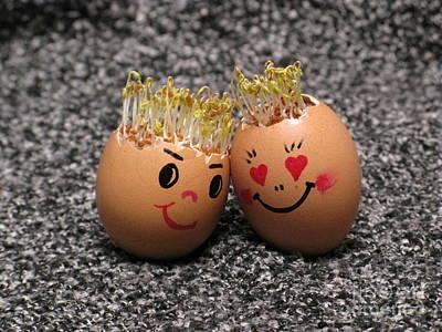 Easter Eggmen Or Eggs With Hair Series. 02 Print by Ausra Huntington nee Paulauskaite