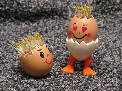 Easter Eggmen Or Eggs With Hair Series. 03 Print by Ausra Huntington nee Paulauskaite