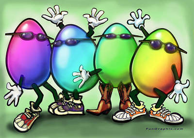 Easter Painting - Easter Eggs by Kevin Middleton