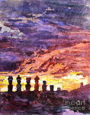 Rice-paper Painting - Easter Island Batik by Ryan Fox