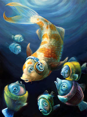 Listening Digital Art - Easy Listening Streaker Fish Among The Sweater Fish by Vanessa Bates