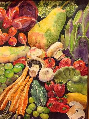 Broccoli Painting - Eat Your Fruits And Vegetables by Kathy Sievering