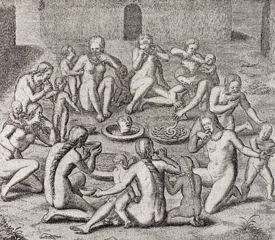 Cannibalism Drawing - Eating The Flesh Of A Prisoner According To The Old Historian, From Gottfrieds Historia Antipodum by German School