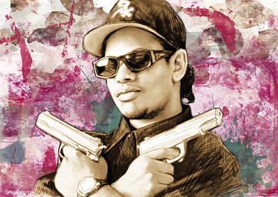 Stylized Mixed Media - Eazy-e - Stylised Drawing Art Poster by Kim Wang
