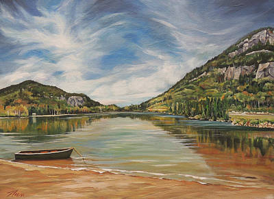 Franconia Notch Painting - Echo Lake In Franconia Notch New Hampshire by Nancy Griswold