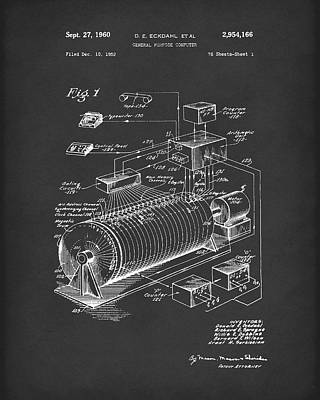 Computer Art Drawing - Eckdahl Computer 1960 Patent Art Black by Prior Art Design