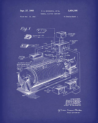 Computer Artwork Drawing - Eckdahl Computer 1960 Patent Art Blue by Prior Art Design