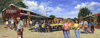 Picking Pumpkins Painting - Eckerts Market Belleville Grandsons  by Don  Langeneckert