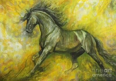 Horse Art Painting - Eclipse by Silvana Gabudean