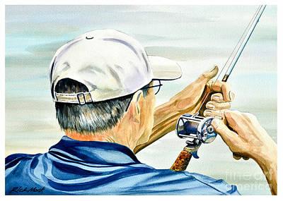 Old Man Fishing Painting - Ed Fishing by Rick Mock