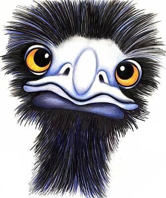 Emu Drawing - Eddie The Emu by Margaret Sanderson